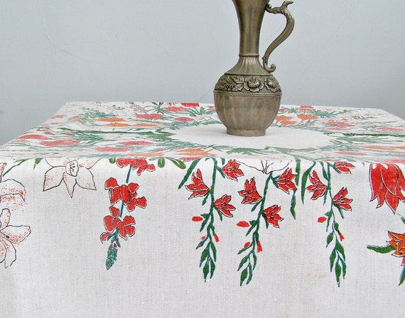 Vintage Floral Linen Tablecloth, French country, cottage chic, colorful Tablecloth, Rustic housewares, Garden inspired