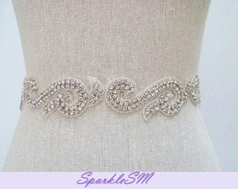 Bridal Sash, Bridal Belt, Rhinestone Sash, Crystal Beaded Wedding Dress Sash, Bridal Dress Sash, SparkleSM Bridal Sashes, Bridal Belt, Sasha