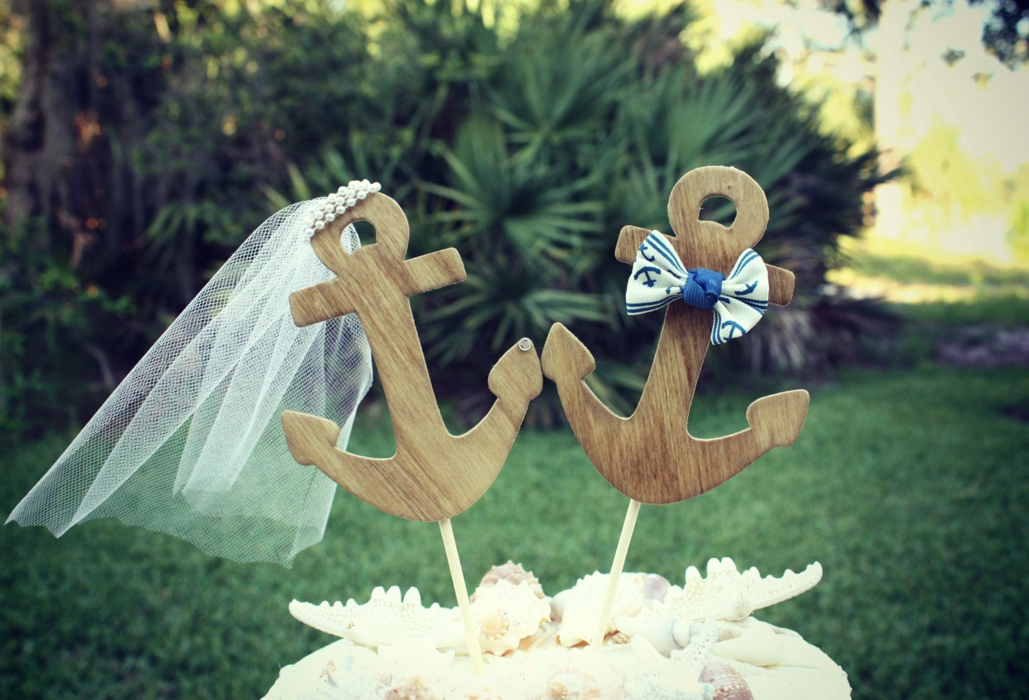 nautical wedding cake topper anchor wedding cake topper beach. Black Bedroom Furniture Sets. Home Design Ideas