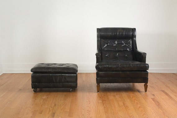 SOLD Vintage Black Brown Drexel Heritage Leather Tufted Club Chair and Ottoman