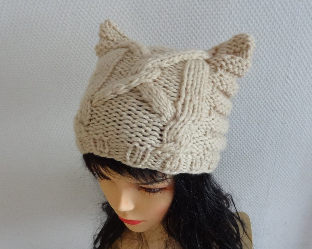 Knit Cable Cat Ears Hat Cat Beanie Chunky Knit Winter by Ifonka