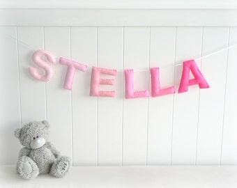 Personalized felt name banner wall art nursery decor - nursery decor - ombré - MADE TO ORDER