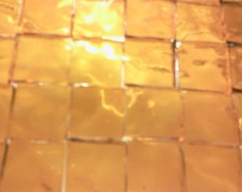 100 3/8 LIGHT GOLDEN AMBER Transparent Stained Glass Mosaic Tile A30