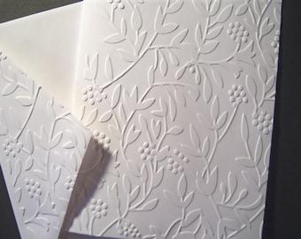 Set of 6 Secret Garden Embossed Notecards