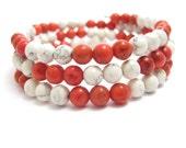 Wrap Around Bracelet, Red and White Stone Beads