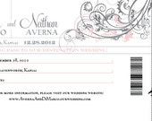 Boarding Pass Save the Date - Pink and Pewter - RESERVED LISTING