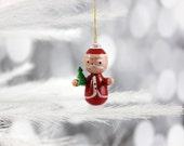 Wood Christmas Ornament Santa Claus Wooden Painted Vintage