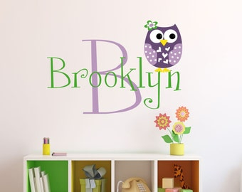 Personalized Owl Wall Decal - Name Wall Decal - Owl Nursery Decor - Girls Owl  Wall Decal
