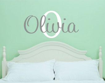 Custom Girl Name Wall Decal // Custom Monogram // Girls Bedroom Decal //