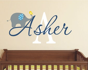 Elephant Wall Decal  - Name Wall Decal - Baby Nursery Wall Decal -   Boys Name Vinyl Decals
