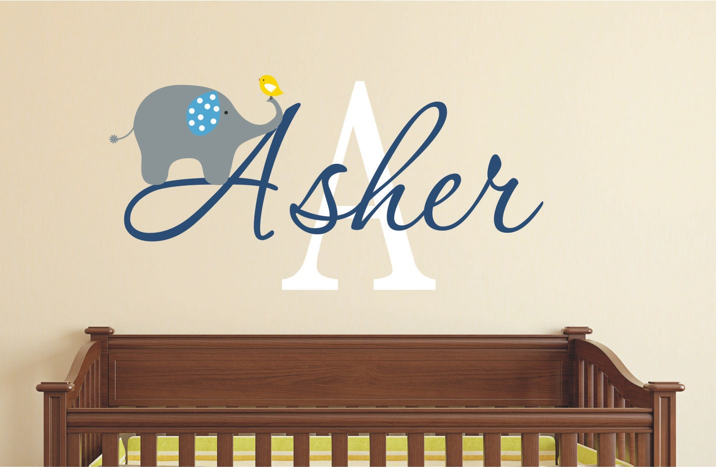 Elephant Wall Decal Name Wall Decal Baby Nursery Wall