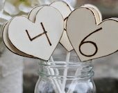 Rustic Table Numbers Wedding, Engraved Hearts On Sticks Shabby Chic Decor, Set Of 12