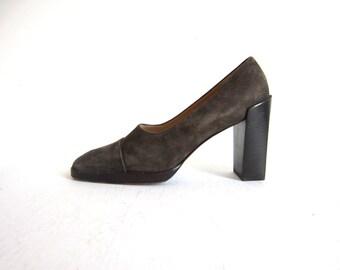 Vtg GUCCI Grey Suede Chunky Heels 7