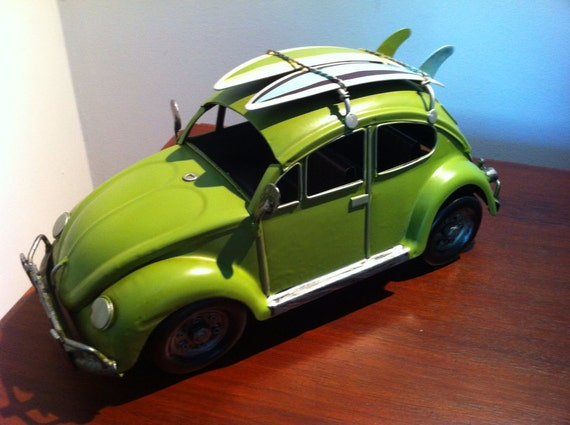 VW Beetle Car Lime Green Volkswagen Tin Metal Collectible