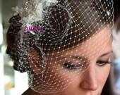 wedding veil, BIRDCAGE VEIL bridal veil, romantic bird cage,bridal fascinator, birdcage veil in ivory ,vintage style bridal headpiece