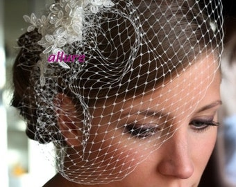 wedding veil, BIRDCAGE VEIL bridal veil, romantic bird cage,bridal fascinator, birdcage veil in ivory ,vintage style bridal headpiece