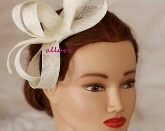 ivory wedding fascinator, kentucky derby hat, coctail hat, ivory wedding headpiece