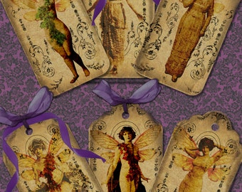 6 Vintage style fairy TAGS printable digital download