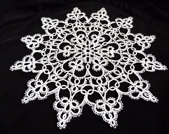 Handcrafted tatting  white Doily -  Home decor - wedding  decoration - Christmas