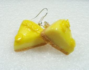 Lemon Cheesecake earrings. Polymer clay.