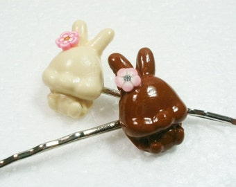 Chocolate Bunny Hair Grips Bobby Pins. Polymer Clay.