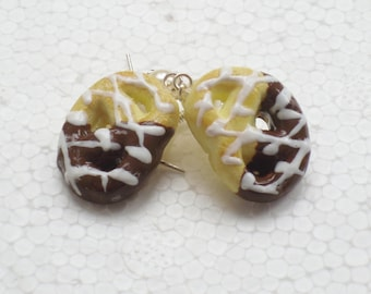 Pretzel Cookie Earrings. Polymer Clay