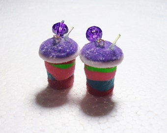 Rainbow Slush Earrings. Polymer Clay.