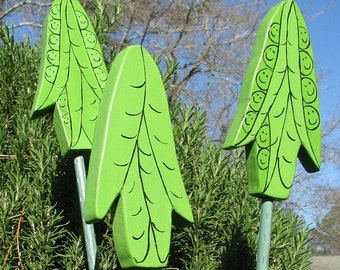 PEAS - Double Sided Wooden Garden Personality Plant Marker -Gift for the gardener