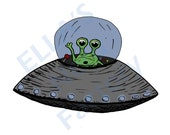 Printable Alien UFO Sketch Color Art 10x8 Inch