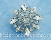 1  Rhinestone Brooch Component clear round large wedding embellishment frozen clip supply BR-002 silver clear