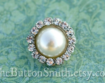 Rhinestone & Pearl Buttons -Audrey- (21mm) RS-033 - 5 piece set