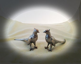 Vintage PHEASANT Salt & Pepper SHAKERS - Silvered - Free Shipping