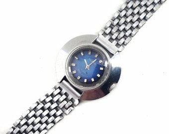 Lady's WRISTWATCH Slava, silver and blue color 17 jewels