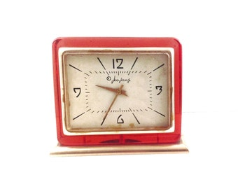Clock RARE 1950's RED color, use for home decor or your collection.