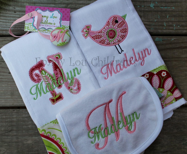 Baby Gift Monogram : Monogrammed baby gift set of two burp