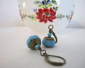 CUSTOM FOR JOSEPHINE - Czech Glass Beaded Dangle Earrings - Picasso Finish Drop Earrings - Sky Blue/Robins Egg Blue