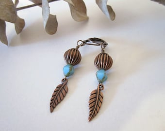 Antique Copper Leaf Earrings - Dangle Earrings