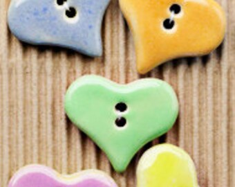 Large Pastel Heart Buttons