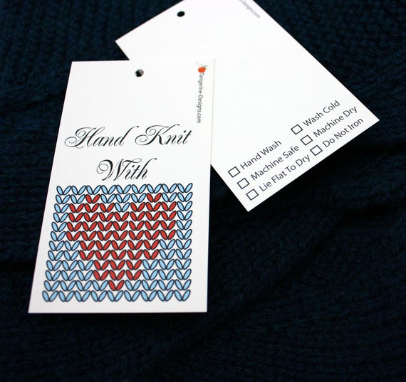 Gift tags hand knit with love set of 5 for knit crochet for Hand knit labels