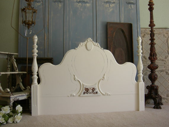Old Shabby Queen Or Full Headboard Chic French White Beds
