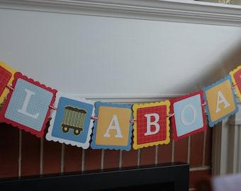 All Aboard Banner, Train Theme, Train Birthday Party, Chugga Chugga Red Yellow and Blue