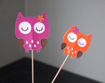 Owl Centerpieces,  Owl Birthday Party, Owl Baby Shower, Owl Theme, 8 Pcs, Orange Hot Pink
