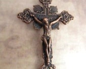 Vintage Style Antique Copper Ornate Rosary Crucifix
