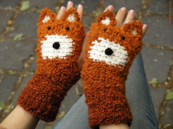 Fox Fingerless Gloves (Chunky) - Free Shipping Worldwide