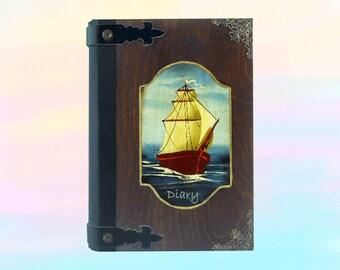 Handmade journal,Vintage Journal,Blank Journal,Nautical sailing,Blank Notebook,Handmade notebook,Diary notebook,Custom journal,Navy theme