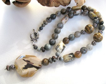 Earthy necklace, Beaded gemstone necklace - Mookaite pendant with Crazy Lace Agate and Lodolite, vintage Picture Jasper, rustic 185