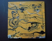 Tiger Lady Orange and Black Painting Erotic Wall Art