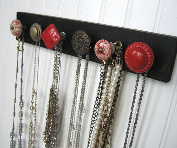 This item sold on December 31, 2014. - Necklace Holder / Wall Mounted Jewelry Organizer Red On