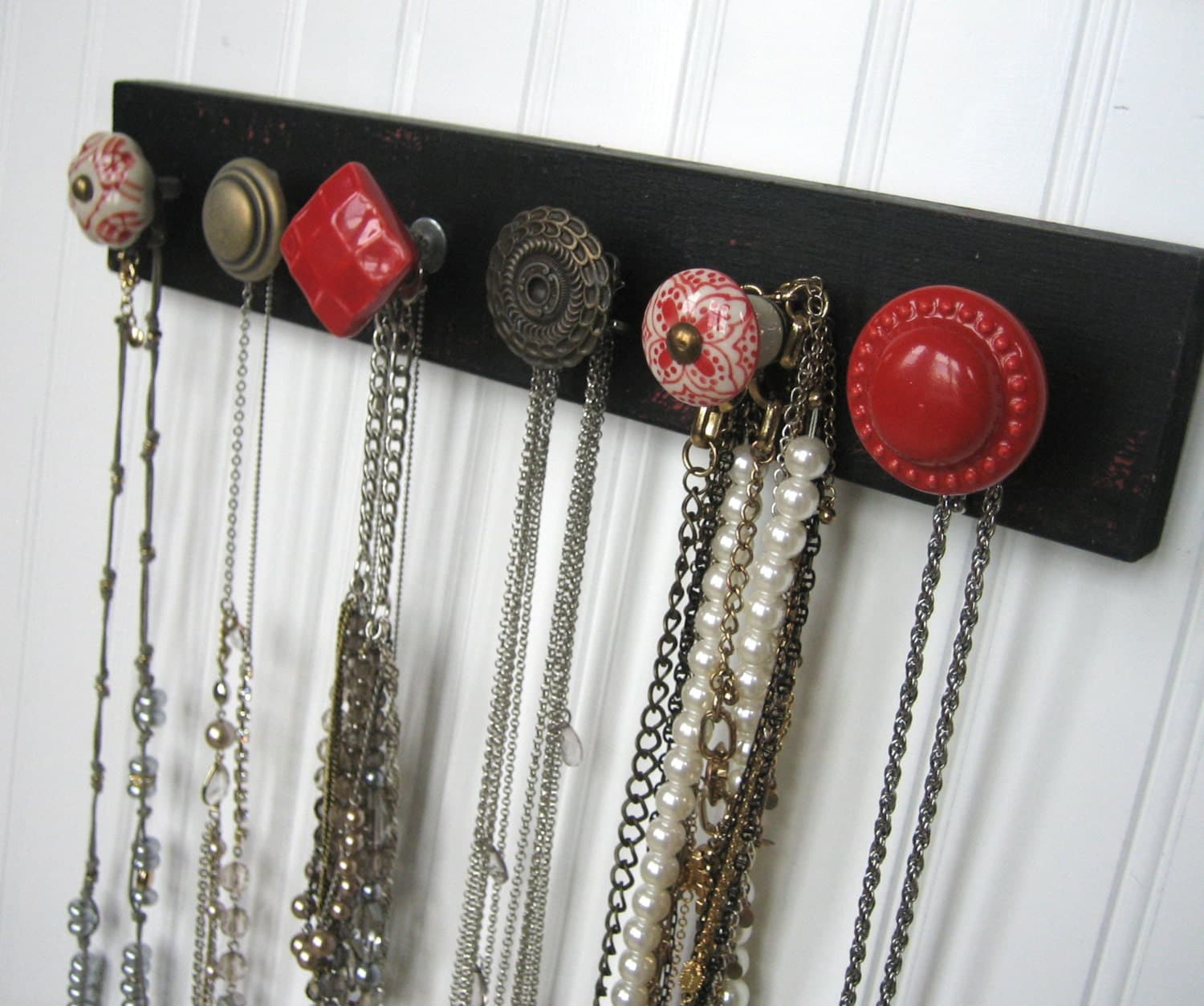 Jewelry Organizers Wall: Necklace Holder / Wall Mounted Jewelry Organizer Red On