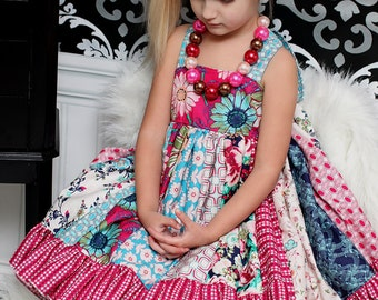 Serena's stripwork double layer Dress PDF Pattern NEW sizes 6-12 months to size 8